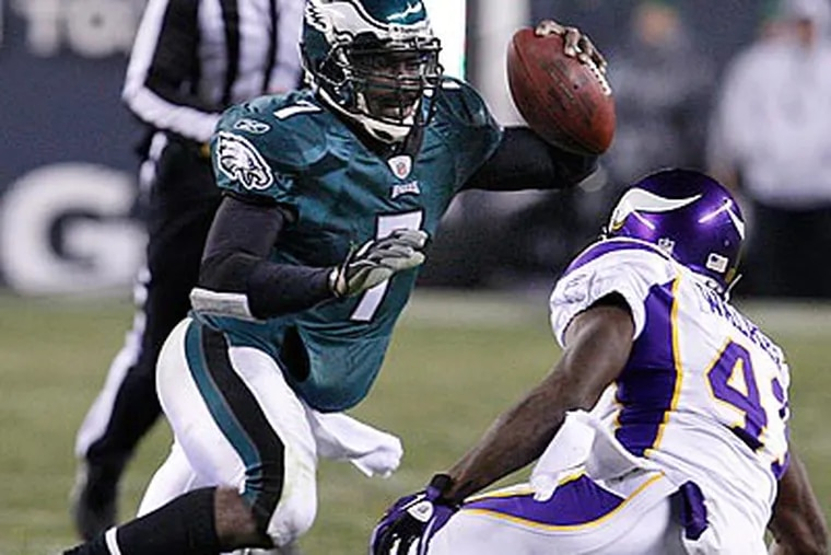 Michael Vick was sacked six times in the Eagles' loss to the Vikings. (Ron Cortes/Staff Photographer)