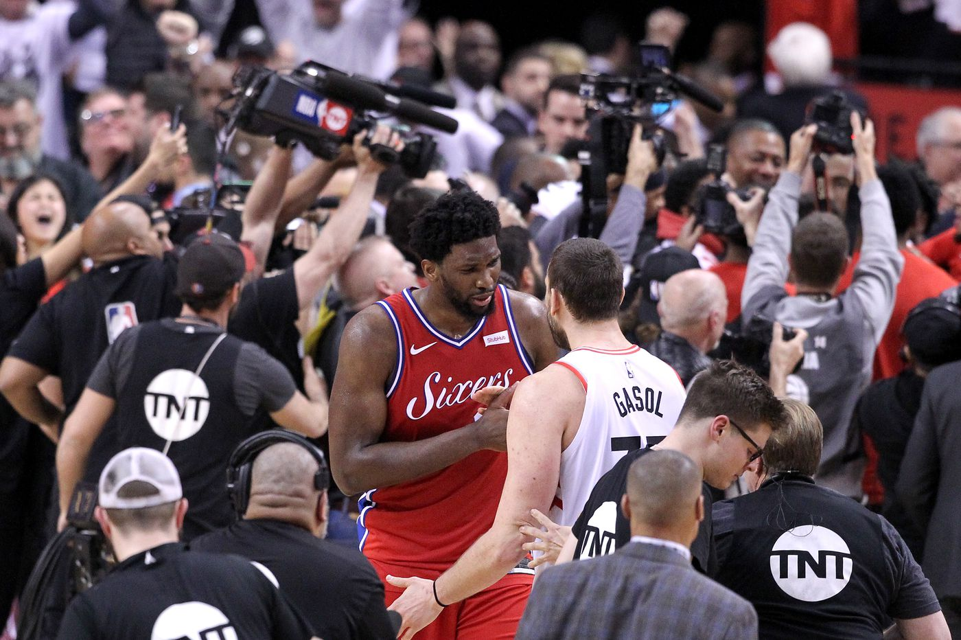 Joel Embiid's tears caught on television as Sixers fans mourn loss to Raptors