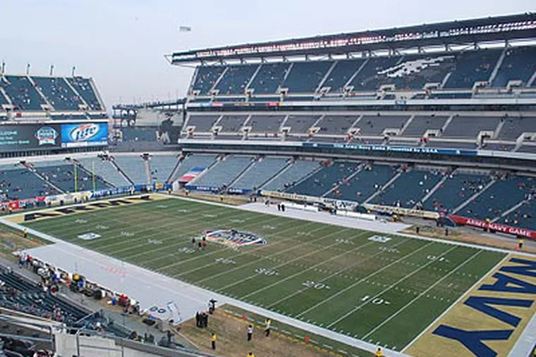 Lincoln Financial Field is ready to host the 2010 Army-Navy Game. (Jonathan Tannenwald/Philly.com)