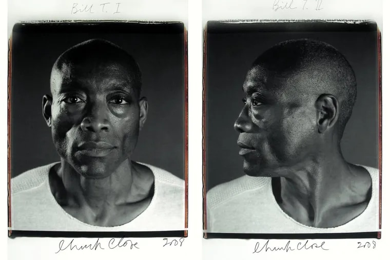 """""""Bill T. Jones,"""" a black and white Polaroid diptych mounted on aluminum."""