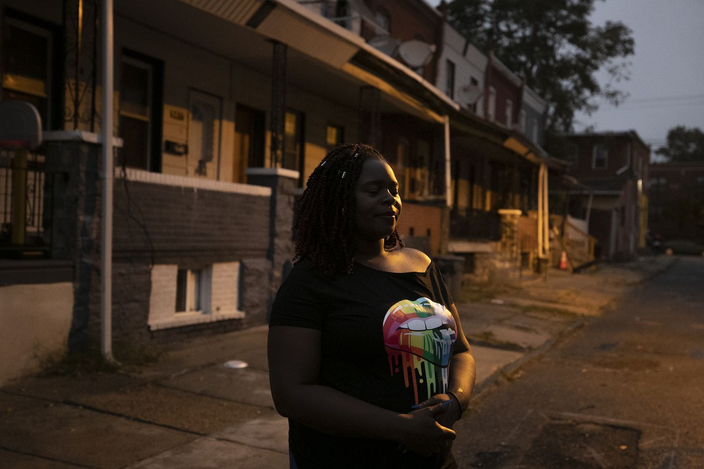 Lateefah Knight in the Parkside section of West Philadelphia. Knight was evicted from her home in 2018 and has struggled to find long-term housing since.
