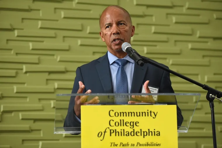 President Donald Guy Generals speaks to community representatives on a new effort to better focus on student wellness at Community College of Philadelphia last week. Generals is approaching his five-year anniversary as president of the college.