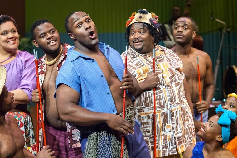 """From """"Jamaica""""  at Freedom Theatre. Left to right: Aaron Mitchell, Nicole Stacie, William Morrison, Shabazz Green, Reji Woods, Mikal Odom and Sanchel Brown. Photo: www.ethimofoto.net."""