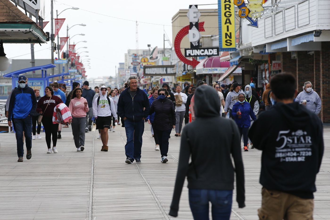 At the Jersey Shore, brisk winds, sparse crowds, and worry for what's ahead