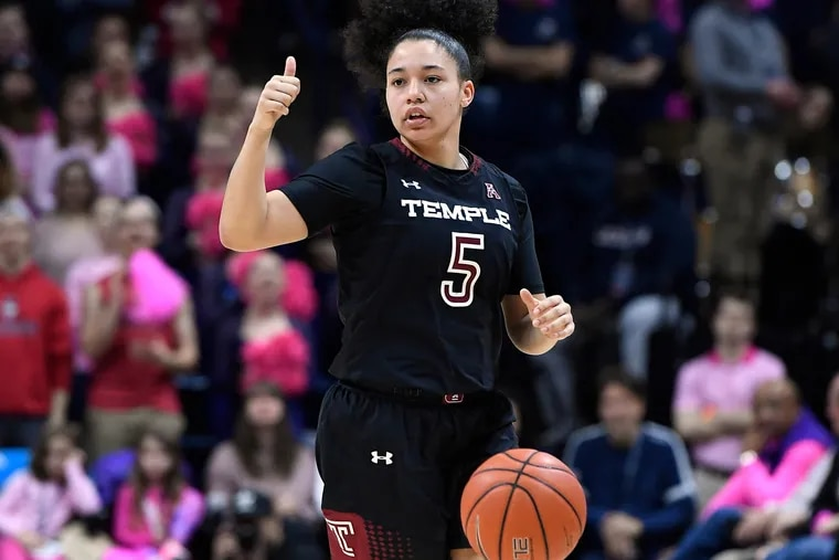 Temple's Marissa Mackins during the first half of an NCAA college basketball game, Saturday, Feb. 9, 2019, in Storrs, Conn. (AP Photo/Jessica Hill)