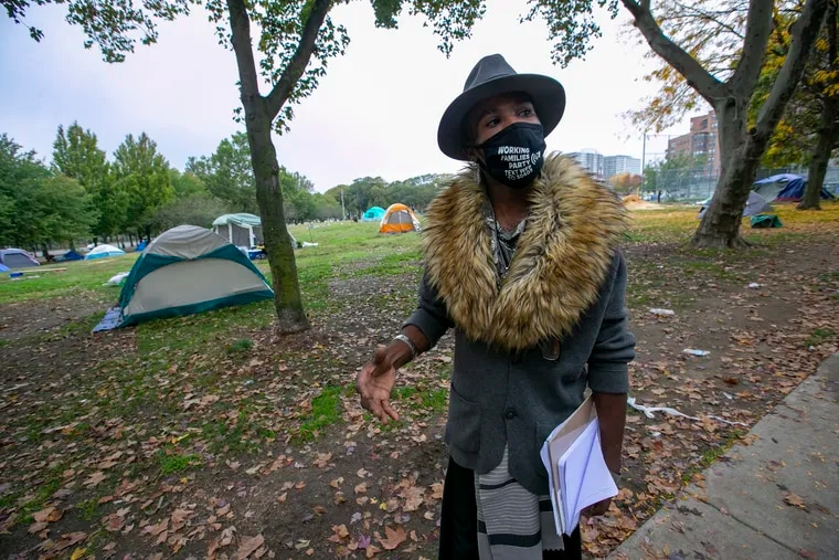 Jeremy Williams, activist, minister, and resident of the homeless encampment on the Benjamin Franklin Parkway. He said that before the houses promised by the city are available to people leaving the encampment, they must find temporary places to live.