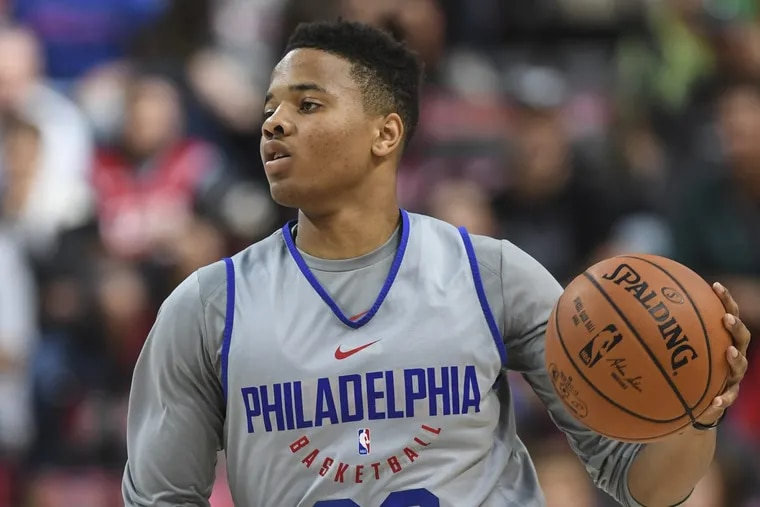 Rookie point guard Markelle Fultz pushes the ball upcourt during Sunday's scrimmage.
