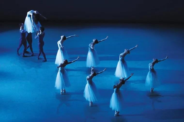 Artists of Pennsylvania Ballet in George Balanchine's Serenade  Photo: Alexander Iziliaev