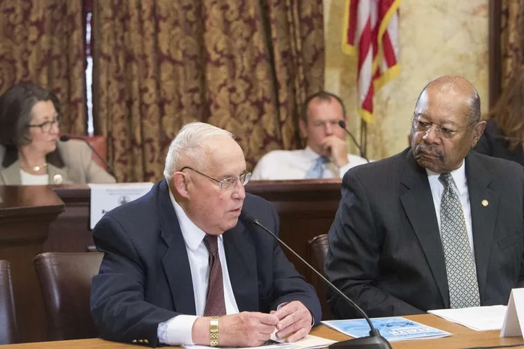 State Rep. Bob Godshall (R.,Montco), shown at left during a 2016 committee hearing in Harrisburg, announced Thursday he is retiring after more than three decades in office.