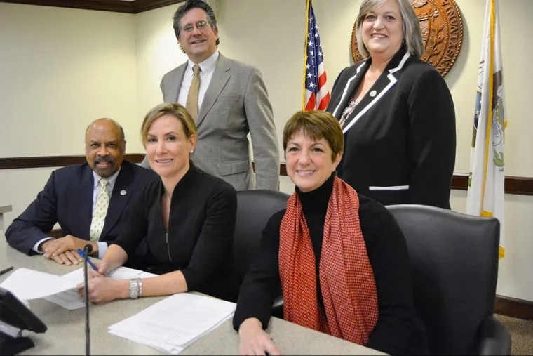 Chester County's retirement board on Dec. 21, 2017 said it voted to invest $2 million in a local venture capital fund that would focus on Chester County businesses. They established Venture Chesco, in partnership with Ben Franklin Technology Partners of Southeastern Pennsylvania, which will add $2 million and pick companies to back. Seated left to right: Chester County Commissioner Terence Farrell; Chester County Commissioners' Chair Michelle Kichline; Chester County Treasurer Ann Duke. Standing, left to right: Chester County Controller Norman MacQueen and Chester County Commissioner Kathi Cozzone.