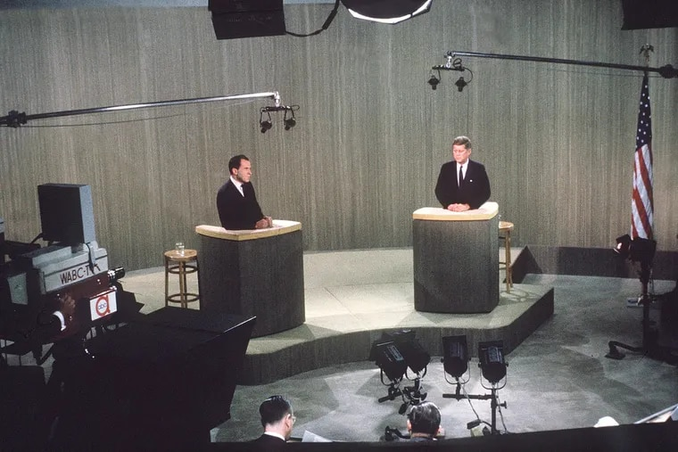 Vice President Richard M. Nixon (left) and Sen. John F. Kennedy in their fourth debate during the 1960 presidential campaign, from Oct. 21.