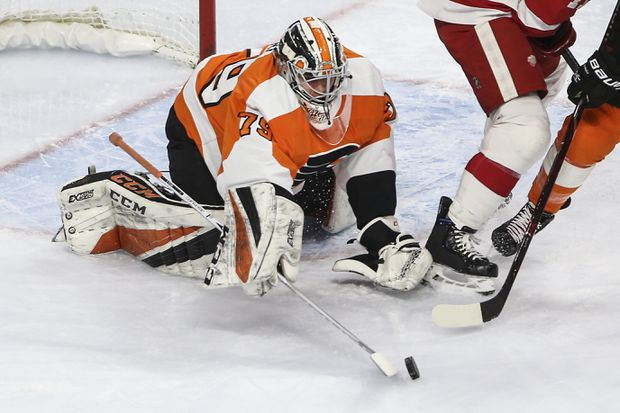 Carter Hart wins heralded debut as Flyers outlast Red Wings, 3-2