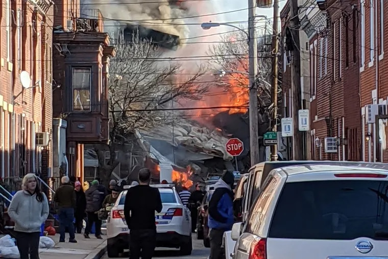 A view of a fire on Eighth Street between Dickinson and Reed in Philadelphia on Thursday.