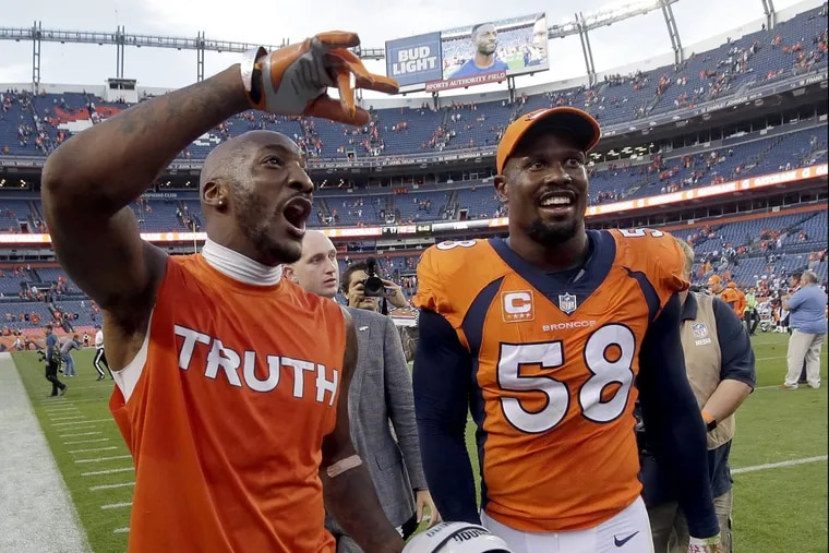Von Miller (58) and Aqib Talib are key members of the stout Broncos defense.