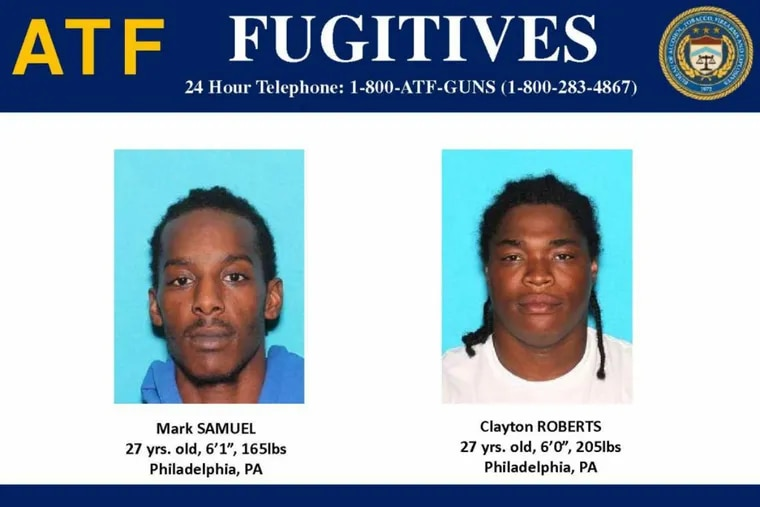 Wanted in federal drug war indictment: Mark Samuel and Clayton Roberts, both of West Philadelphia.
