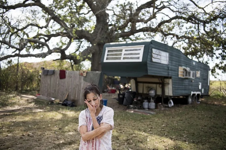 """Sue Soto, seen outside her home in Sutherland Springs, Texas, drove her sister and her boyfriend to the hospital. The gunman """"was mostly shooting at the children,"""" Soto said of Devin Patrick Kelley."""