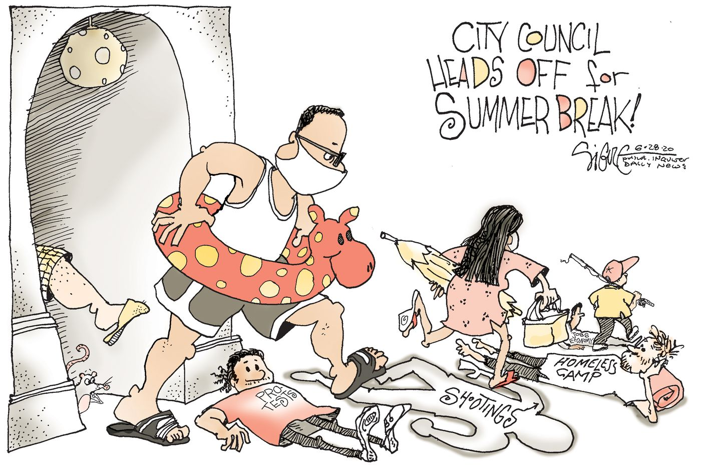 Political Cartoon: Summer recess for Philly's City Council