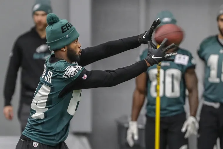 Eagles wide receiver Greg Ward reaches for a pass during a recent practice session. He has 18 catches in four games since being promoted from the practice squad.
