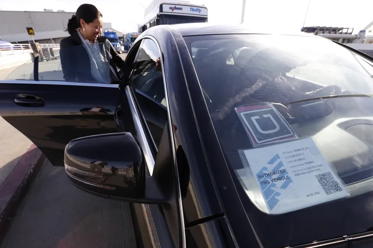 Uber drivers offering service in Philadelphia.
