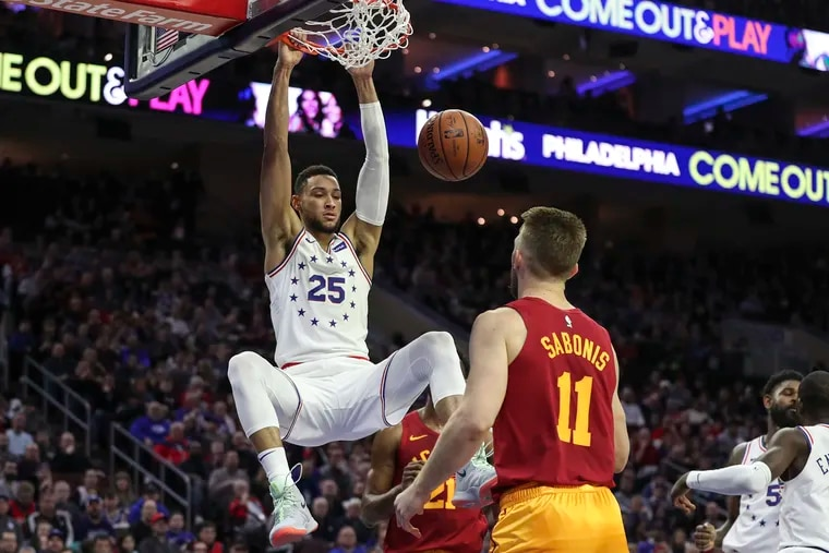 Sixers guard Ben Simmons dunks the ball in the first half of a game against the Indiana Pacers at the Wells Fargo Center in Philadelphia on Sunday.