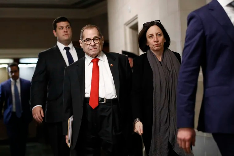 House Judiciary Committee Chairman Jerrold Nadler, D-N.Y., departs after the House Judiciary Committee heard investigative findings in the impeachment inquiry of President Donald Trump, Monday, Dec. 9, 2019, on Capitol Hill in Washington. (AP Photo/Patrick Semansky)