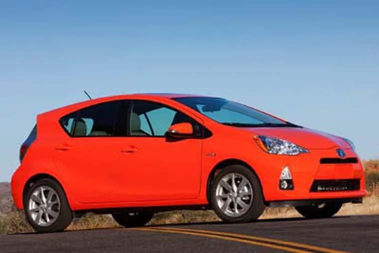 The 2012 Toyota Prius C is a smaller, more normal-looking version of the popular Prius hybrid.