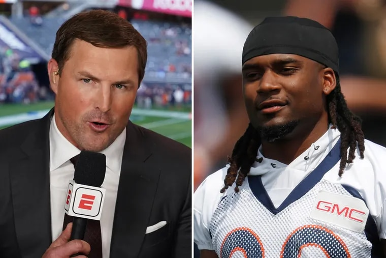 """Broncos cornerback Bradley Roby (right) took issue with ESPN's Jason Witten after claiming Roby quit during the final minutes of the team's """"Monday Night Football"""" loss to the Raiders."""