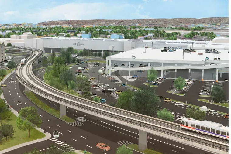 Artist's rendering of Norristown High Speed Line's King of Prussia Rail extension traveling along Mall Boulevard. Credit: SEPTA