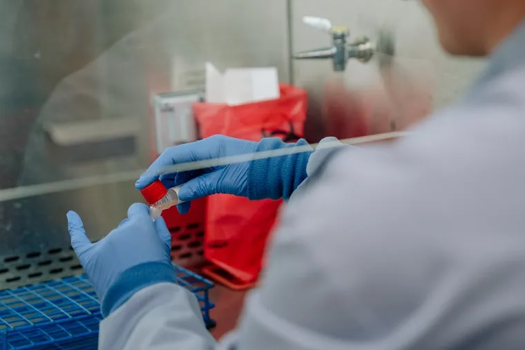 A technician transfers a coronavirus test sample to another tube for testing at the University of Washington Medicine Clinical Virology Laboratory in Seattle.