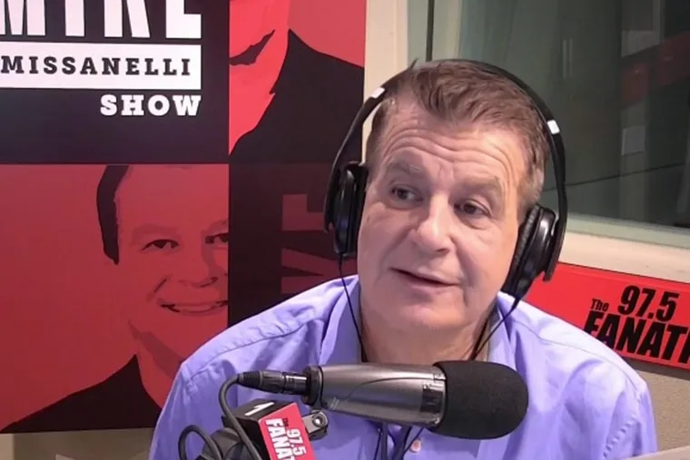 The Fanatic's Mike Missanelli during a simulcast of his popular radio show on NBC Sports Philadelphia, which launched on Monday.