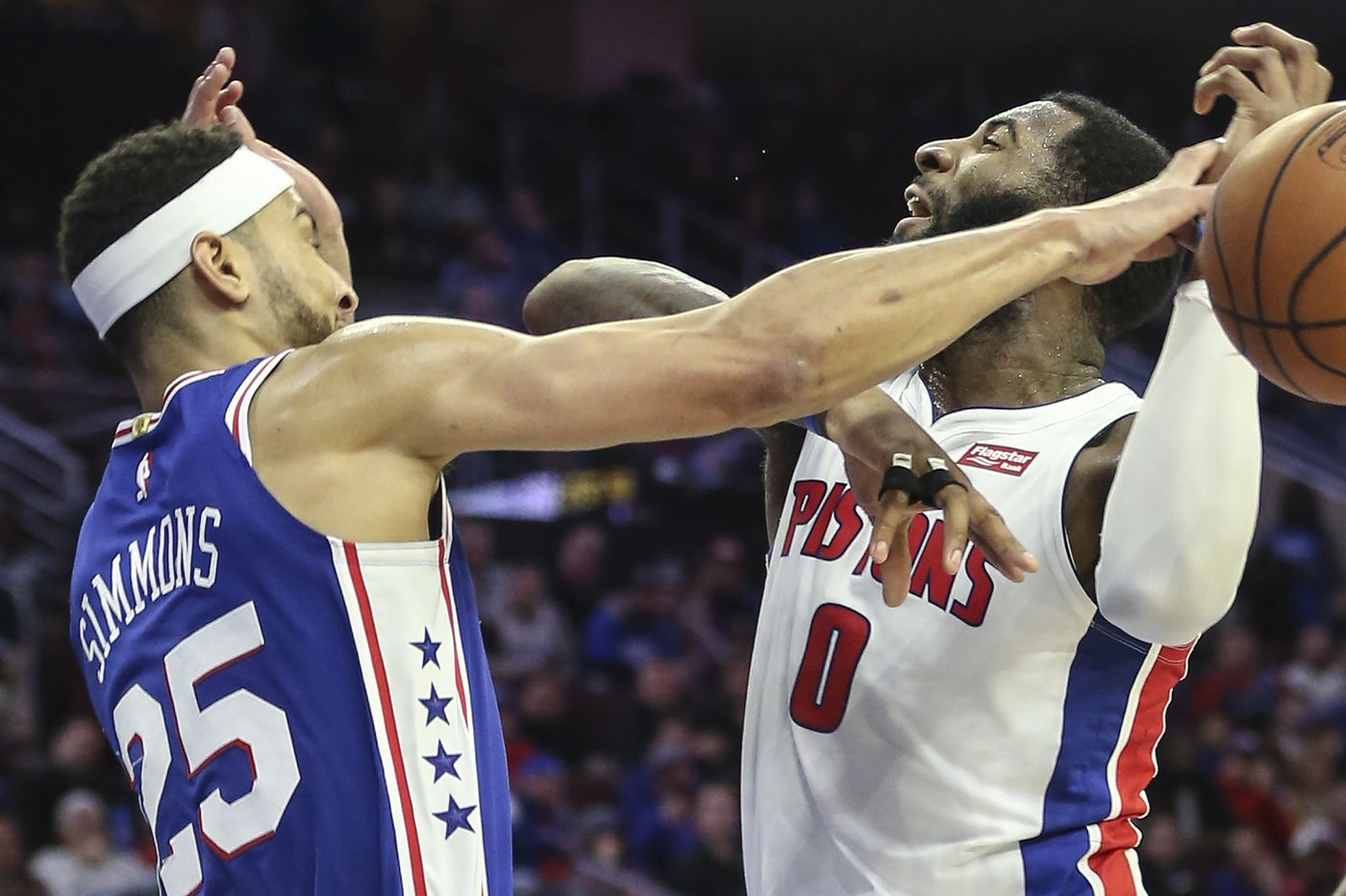Joel Embiid, Ben Simmons lead Sixers to a 116-102 victory over Pistons after Jimmy Butler leaves game with a groin strain