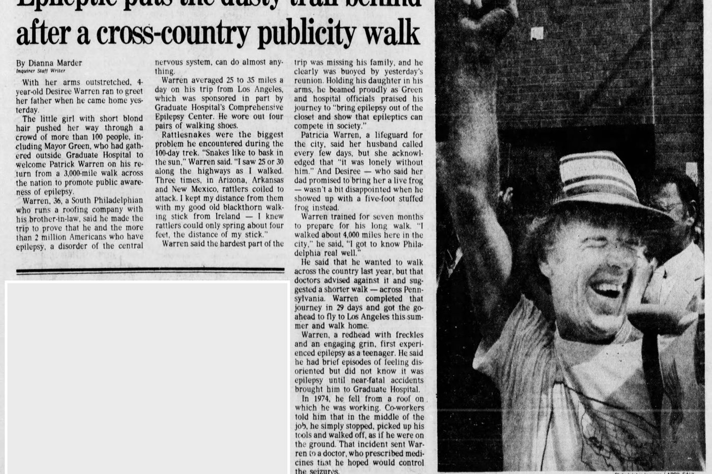 From The Inquirer archives: Epileptic man puts the dusty trail behind after a cross-country publicity walk