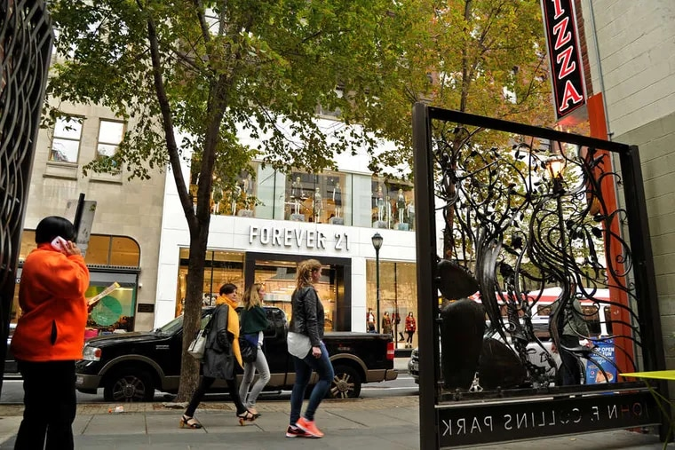 Retailers such as Forever 21, in the 1700 block of Chestnut Street, are drawn by the street's lower rents and bigger lots.