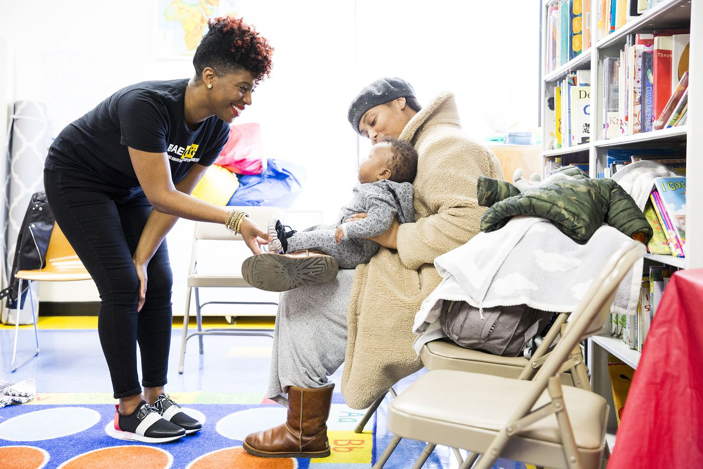 Jabina Coleman (left) is a lactation consultant and co-founder of the nonprofit Perinatal Mental Health Alliance for Women of Color. After experiencing postpartum depression herself, Coleman makes it a point to bring up the topic with new moms.