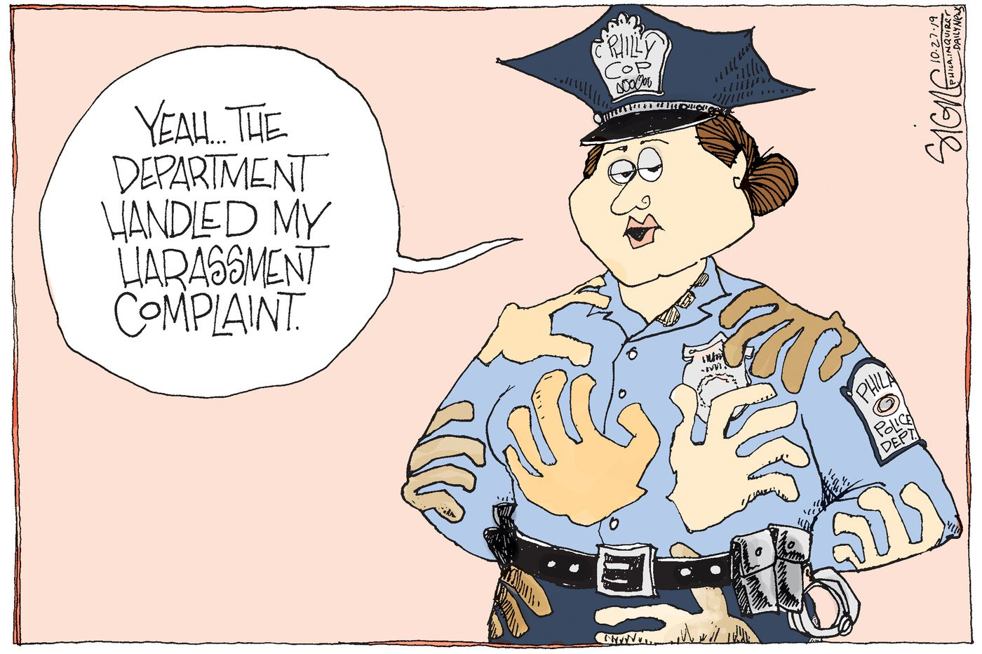 Political Cartoon: Philly police groping to control sexual harassment