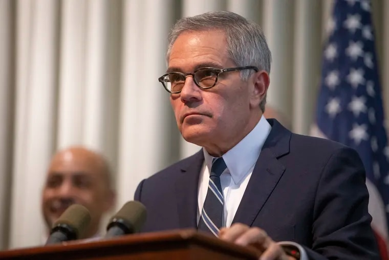District Attorney Larry Krasner speaks during a press conference about the DA's Office's position on the constitutionality of the death penalty in Pennsylvania on Tuesday, July 16, 2019. The DA's Office on Monday night filed a response to a death-row inmate's petition asking the state high court to declare the death penalty unconstitutional.
