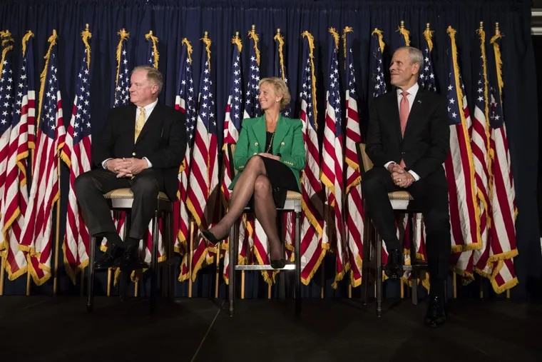 Candidates (from left) seeking the Republican Party's nomination to challenge Democratic Gov. Tom Wolf next year: Pennsylvania Sen. Scott Wagner (R., York County), Laura Ellsworth and Paul Mango.