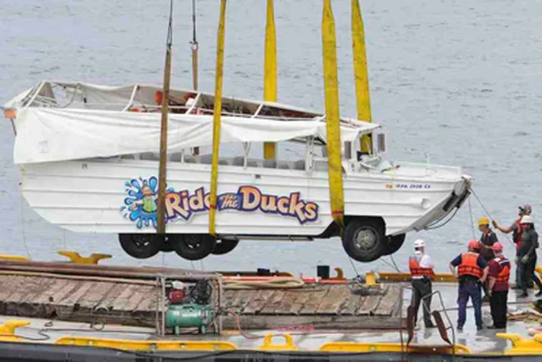 The Ride the Ducks boat involved in collision with barge in July. (Clem Murray / Staff Photographer)