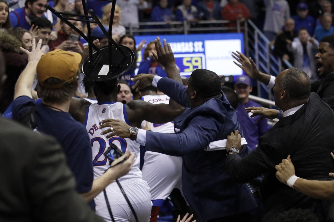 College basketball: A strange week given the top-25 rankings and a brawl at Kansas