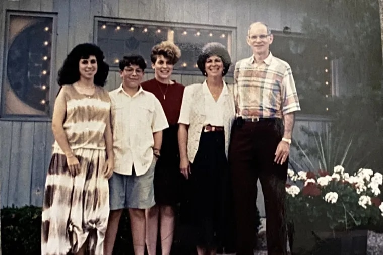In 1988 in front of a restaurant (from right) Dr. Stephen Kaplan, Lynn Auerbach-Kaplan, author Gabrielle Kaplan-Mayer, Jon Kaplan, and Julie Kaplan.