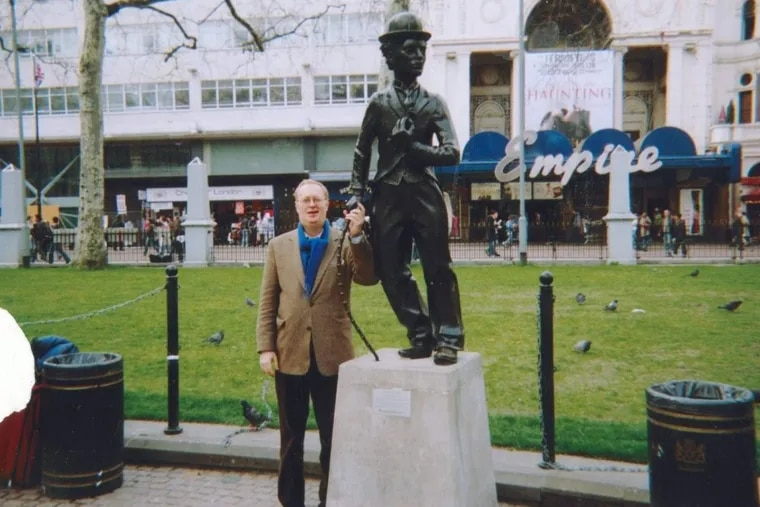 The author in London, next to the statue of silent film star Charlie Chaplin. #submittedImage