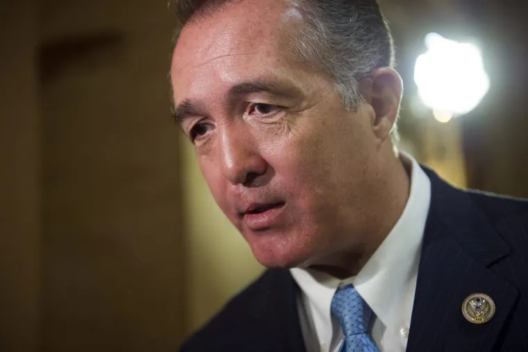 In this March 24, 2017, file photo, Rep. Trent Franks, R-Ariz. speaks with a reporter on Capitol Hill in Washington.