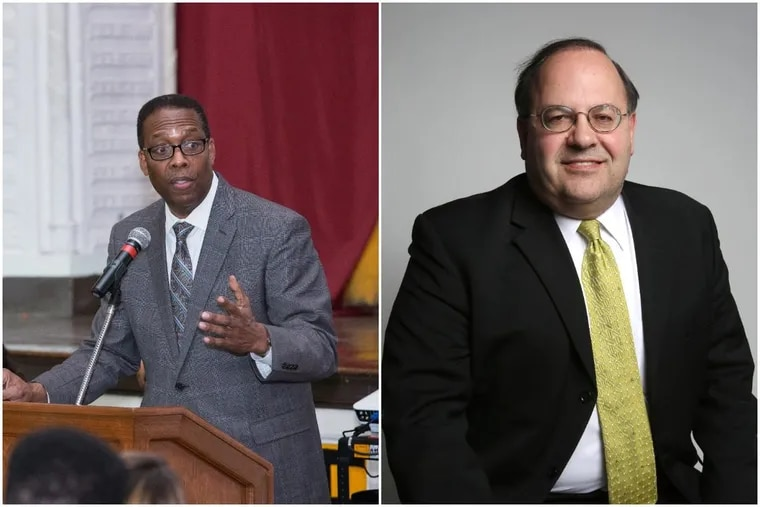 Philadelphia City Council President Darrell Clarke (left) and Councilman Allan Domb (right) disagree on legislation designed to collect delinquent property taxes on residential, commercial and industrial properties in the city.
