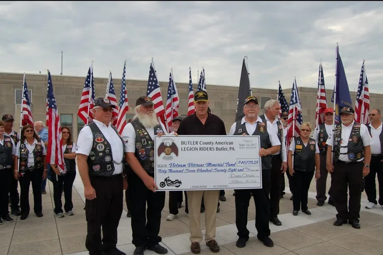 U.S. Secretary of the Interior Ryan Zinke meets with the Butler County American Legion Riders who donated more than $40,000 for the upkeep of the Vietnam War Memorial as well as building of the future museum.