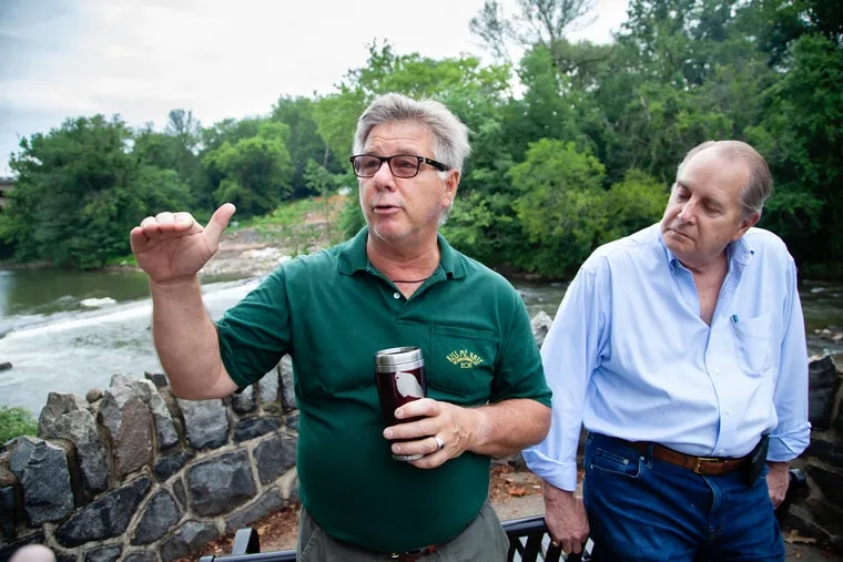Jim Shanahan, left, and H. Hunter Lott III, are co-founders of Brandywine Shad 2020, an organization working to remove dams from the Brandywine River to restore Shad migration.