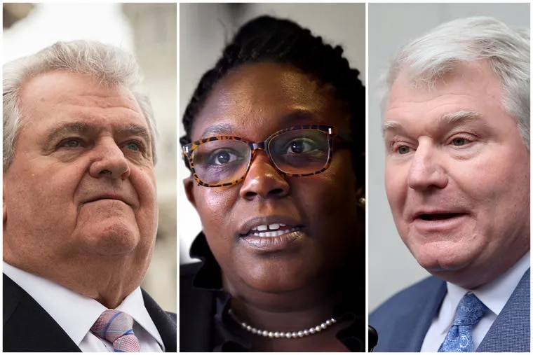 Philadelphia Democratic City Committee chairman Bob Brady, left, City Councilwoman-elect Kendra Brooks, center, and IBEW Local 98 leader John Dougherty, right.