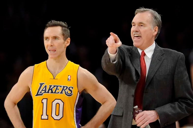 Steve Nash (left) played for current Rockets coach Mike D'Antoni while with the Lakers and Suns.