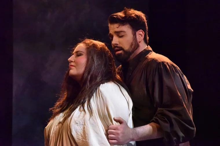 """Claire de Monteil as Leonora and Mackenzie Gotcher as Manrico in the Academy of Vocal Arts production of """"Il trovatore."""""""