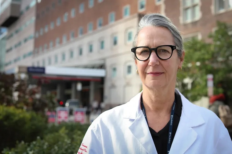 Jo Buyske, the head of the American Board of Surgery and a co-author of the paper on gender discrimination of female surgical residents, poses for a portrait outside the Hospital of the University of Pennsylvania in Philadelphia, PA on November 14, 2019.