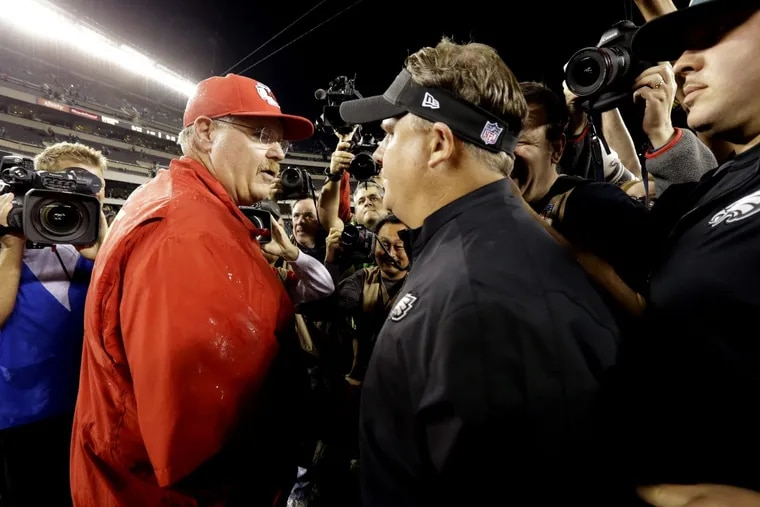 Andy Reid (left) and Chip Kelly in 2013 when Kelly was still at the coaching helm.